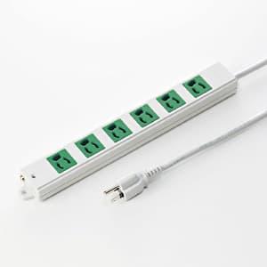 工事物件タップ バックアップ用電源 3P・6個口・3m 抜け止め機能 マグネット付 差込口:グリーン