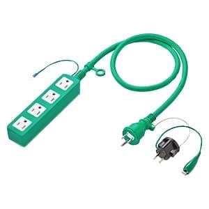 高強度タップ 3P・4個口・1m グリーン(バックアップ用) 吊下げ可能 コンセントキャップ(2個)付