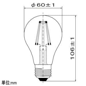 LEDフィラメント電球 ホワイトタイプ 一般電球60形相当 昼白色 E26口金 密閉形器具対応 画像3