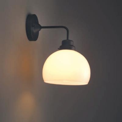 ブラケットライト 鉄鉢硝子セード BK型 60Wホワイトシリカ球付 E26口金 壁面取付専用