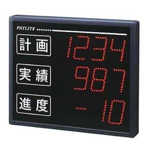 インテリジェント生産管理表示板 屋内専用 シリアル通信タイプ 文字高100mm 3段4桁 1色(赤) ACアダプタ付属