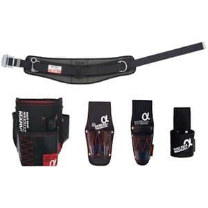 腰道具セット 柱上安全帯用ベルト+腰回り4点セット スライドバックル 湾曲タイプ 《αシリーズ》