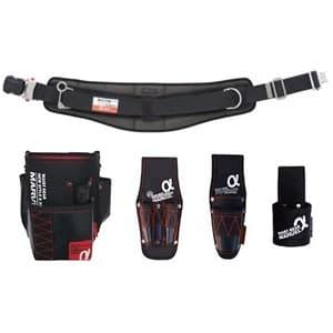 腰道具セット 柱上安全帯用ベルト+腰回り4点セット 調整機能付ワンタッチバックル 湾曲タイプ 《αシリーズ》