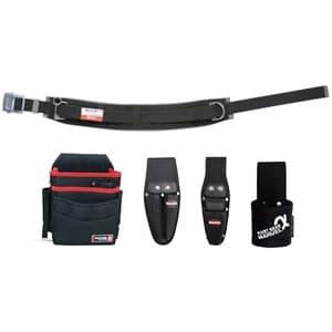 腰道具セット 柱上安全帯用ベルト+腰回り4点セット スライドバックル(アルミ) 湾曲タイプ 《ソフトフィット・Shuttoシリーズ》