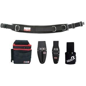 腰道具セット 柱上安全帯用ベルト+腰回り4点セット ワンタッチバックル スタンダード・湾曲タイプ 《ソフトフィット・Shuttoシリーズ》