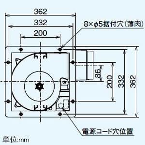 ダクト用換気扇 グリル別売タイプ サニタリー用 低騒音形 プラスチックボディタイプ 接続パイプφ150mm 埋込寸法315mm角 画像3