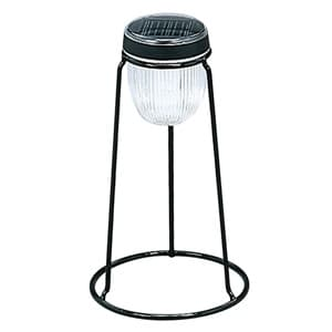 LEDソーラーライト スタンド型 高輝度LED×2灯 電球色 光センサー付