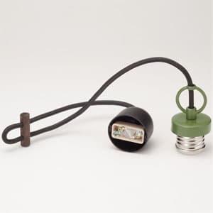 ペンダントライト コード吊具 〆付けタイプ E26口金 コード長680mm 緑塗装 丸環付
