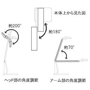 LEDデスクライト 昼光色 光束550lm 無段階調光機能付 USB電源端子付 黒 画像3