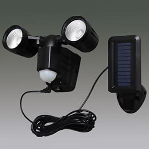 LED防犯センサーライト 屋内・屋外兼用 2灯・ベーシックタイプ IP44 ソーラー式 昼白色