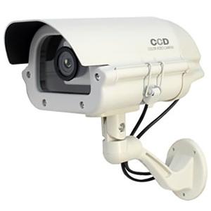防犯ダミーカメラ 屋外ハウジング型 電池式 屋外防雨仕様 赤色LED×1灯