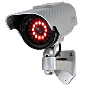防犯ダミーカメラ ソーラー充電式 軒下防滴仕様 赤色LED×12灯 赤外線暗視タイプ
