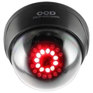 防犯ダミーカメラ ドーム型 赤色LED×11灯 明暗センサー搭載 赤外線暗視タイプ 天井設置タイプ
