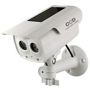 防犯ダミーカメラ ソーラー充電式 軒下防滴仕様 LEDライト・赤色LED×各1灯 人感・明暗センサー搭載