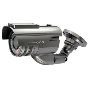 防犯ダミーカメラ バレット型 ソーラー充電式 軒下防滴仕様 赤色LED×1灯 赤外線暗視タイプ