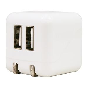 AC充電器 《COLOCORO》 USB2ポート 最大合計2.1A ホワイト&ホワイト