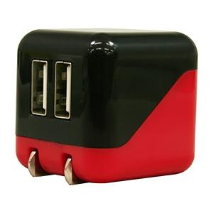 AC充電器 《COLOCORO》 USB2ポート 最大合計2.1A ブラック&レッド