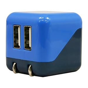 AC充電器 《COLOCORO》 USB2ポート 最大合計2.1A ライトブルー&ブルー