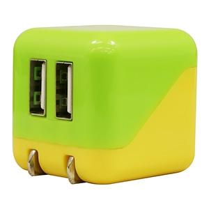 AC充電器 《COLOCORO》 USB2ポート 最大合計2.1A グリーン&イエロー