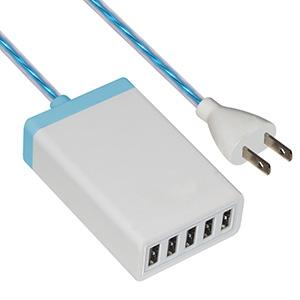 イルミネーションAC充電器 USB5ポート 最大合計6.5A ホワイト