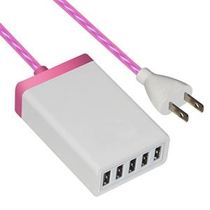 イルミネーションAC充電器 USB5ポート 最大合計6.5A ピンク