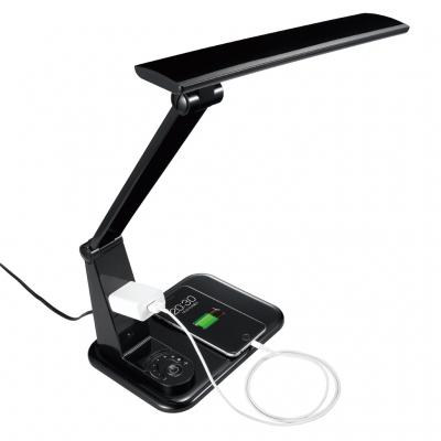 調光機能付 7W LED学習スタンド コンセント付 ブラック