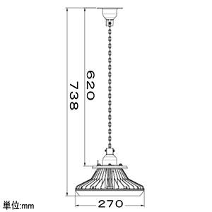 【受注生産品】高天井用LED照明器具 丸形 チェーン吊タイプ 水銀ランプ400W相当 連続調光タイプ 配光角75°昼白色 画像3