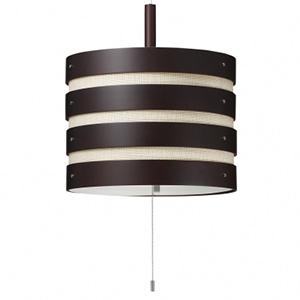 【まとめ買い 2個セット】ペンダントライト 2灯タイプ 木製リング+布張りセード E26口金 電球別売 ダークブラウン