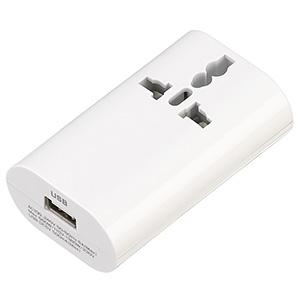 海外用マルチ変換プラグ 2個口+USB1ポート A・C・O・BF・SEタイプ対応 USB出力1A ホワイト