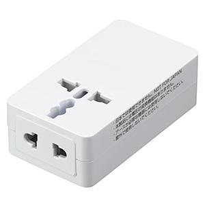 海外用マルチ変換プラグ 2個口+USB1ポート A・C・O・BF・SEタイプ対応 USB出力2A ホワイト 画像2