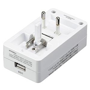 海外用マルチ変換プラグ 2個口+USB1ポート A・C・O・BF・SEタイプ対応 USB出力2A ホワイト 画像3