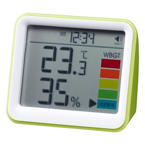 時計付置き型デジタル温湿度計 警告アラーム機能付 グリーン