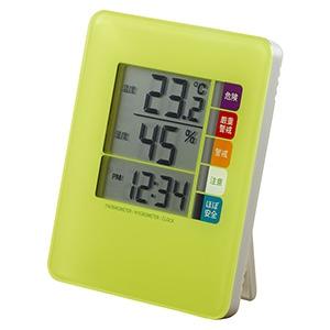 時計付デジタル熱中症計 グリーン