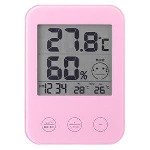 デジタル温湿度計 熱中症・インフルエンザ警報付 ピンク
